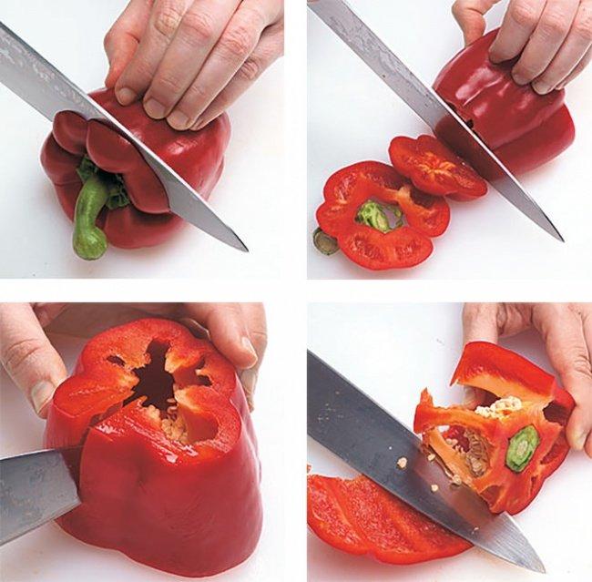как нарезать перец