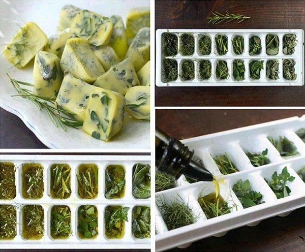 зелень в формочках для льда