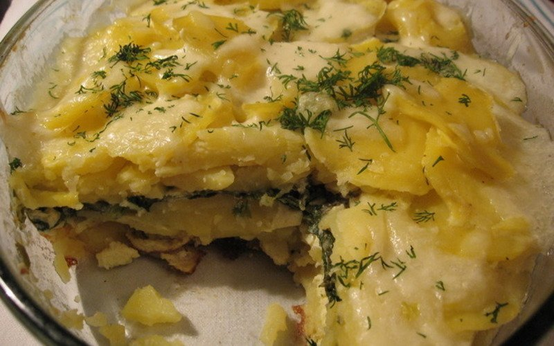 Запеканка из черемши и картофеля