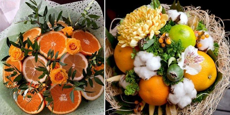 букет из цитрусовых и цветов