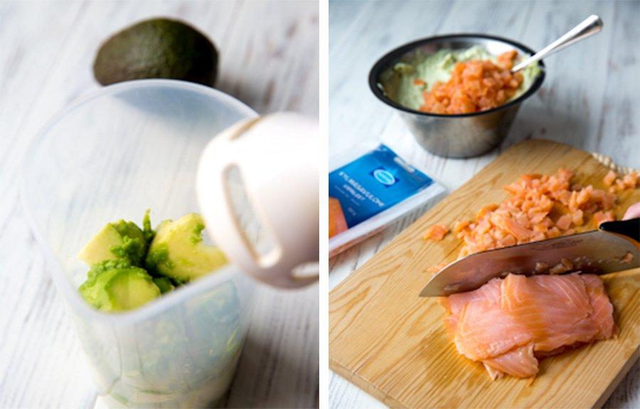 авокадо и лосось