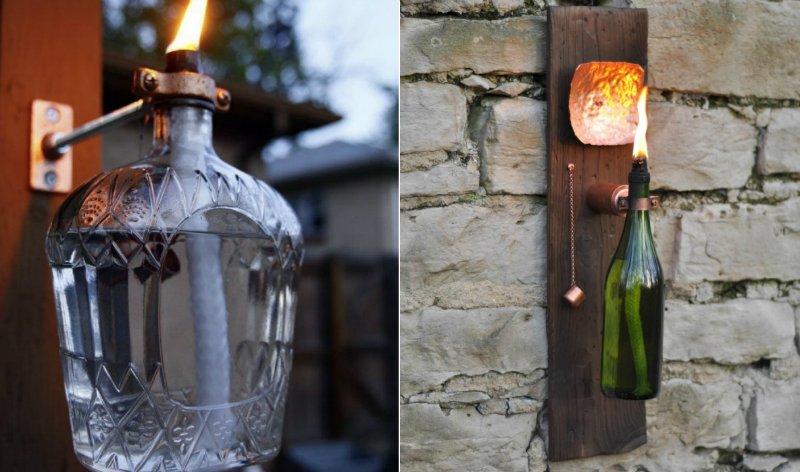 уличный фонарь из бутылки