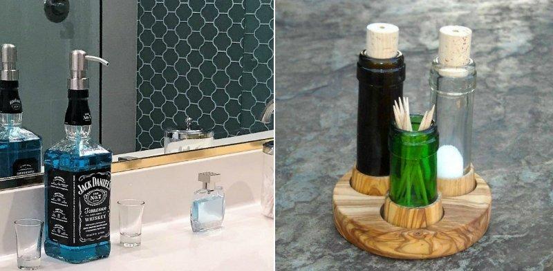 украшения для дома из бутылок
