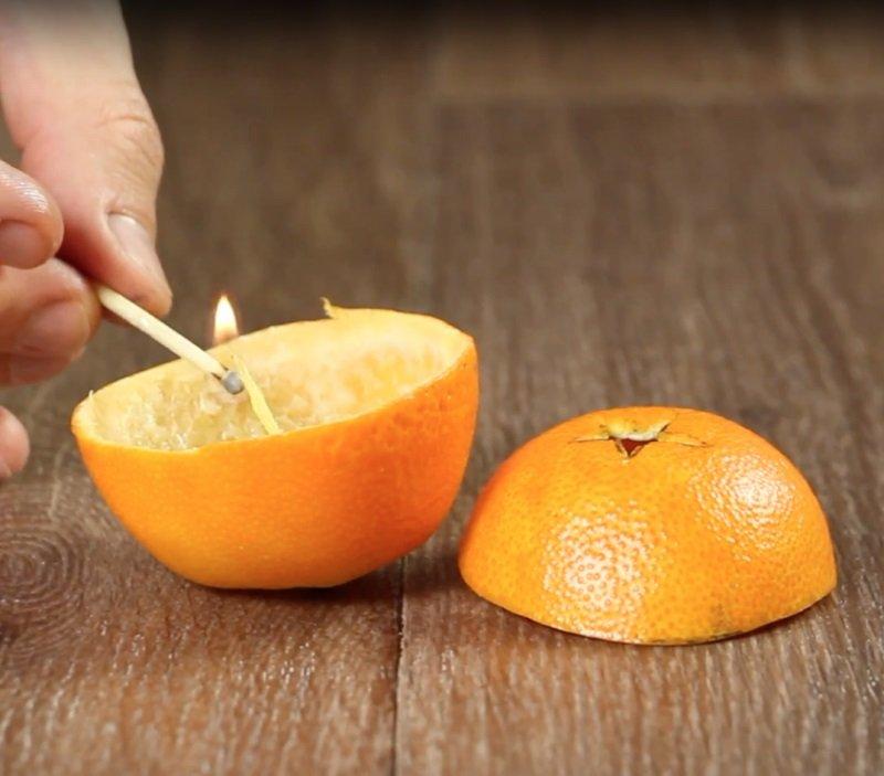 светильник из мандарина