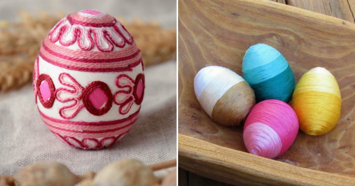 пасхальные яйца в нитке