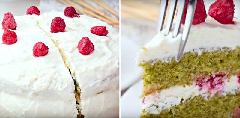 торт со шпинатом и малной