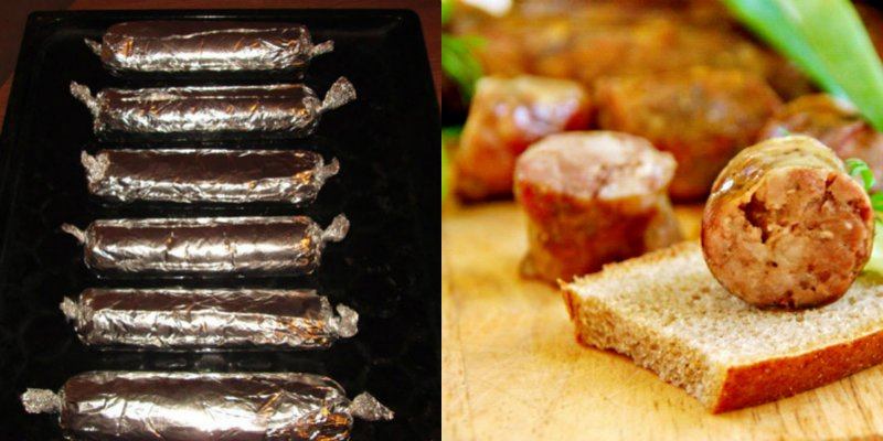 домашняя колбаса в фольге