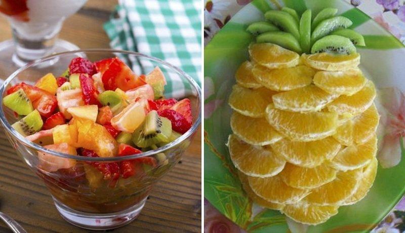фруктовый салат в форме ананаса
