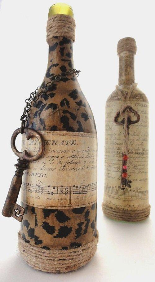 Декупаж бутылок своими руками под старину 22