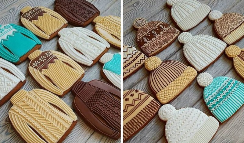 новогодние пряники в виде шапочек и свитеров