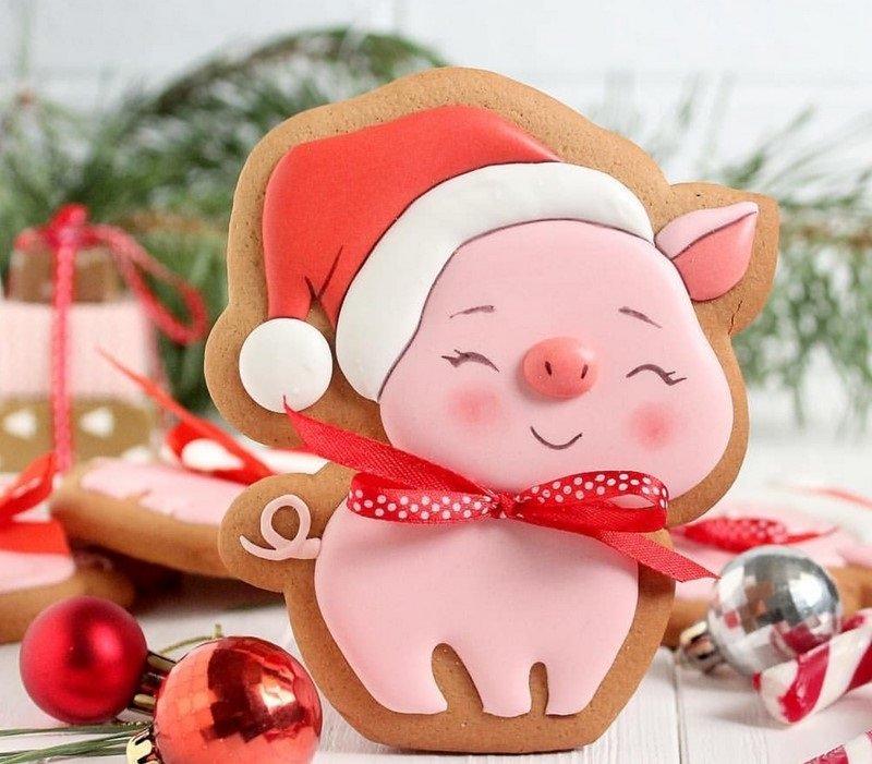 новогоднее печенье с изображением синьи