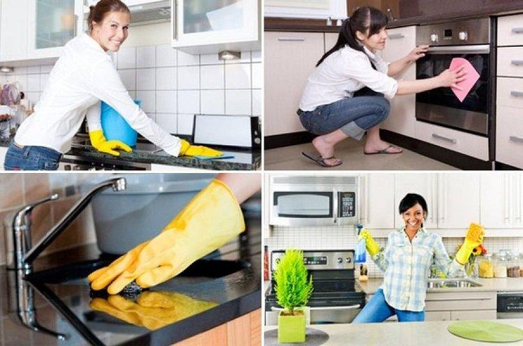 Использование жидкости для мытья посуды, уборка на кухне