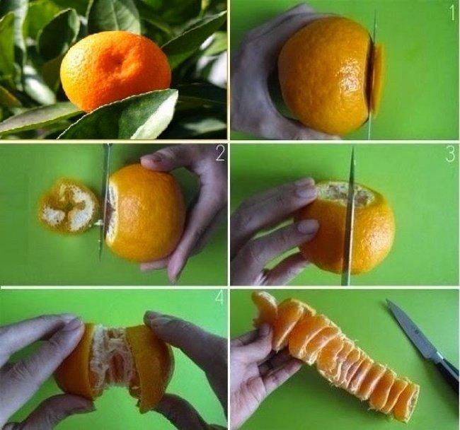 чистка мандарина
