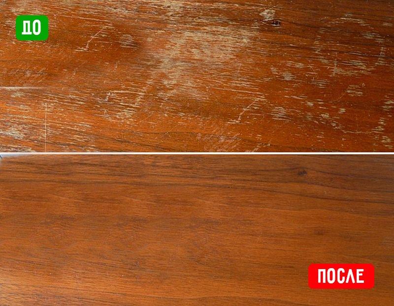 деревянный кухонный стол до и после
