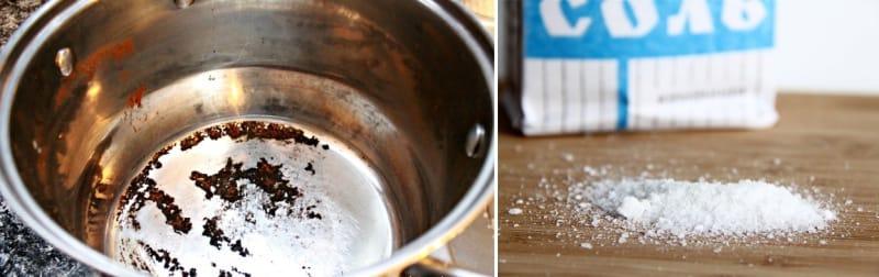 очистить посуду солью