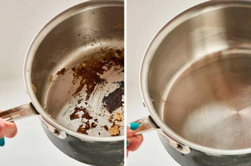 пригоревшая кастрюля до и после