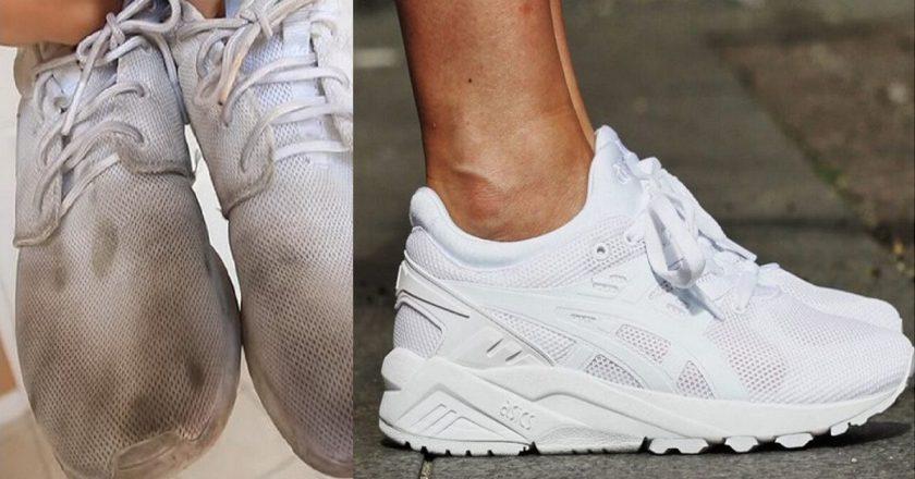 стирка белых кроссовок