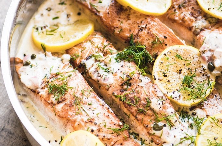 Как приготовить красную рыбу, красная рыба в сливочном соусе