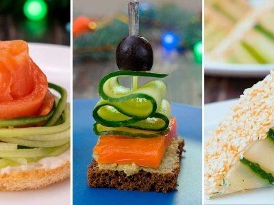 Как приготовить праздничные бутерброды с огурцом