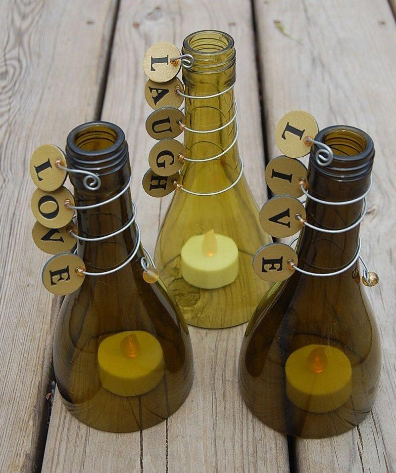 подсвечники из бутылки