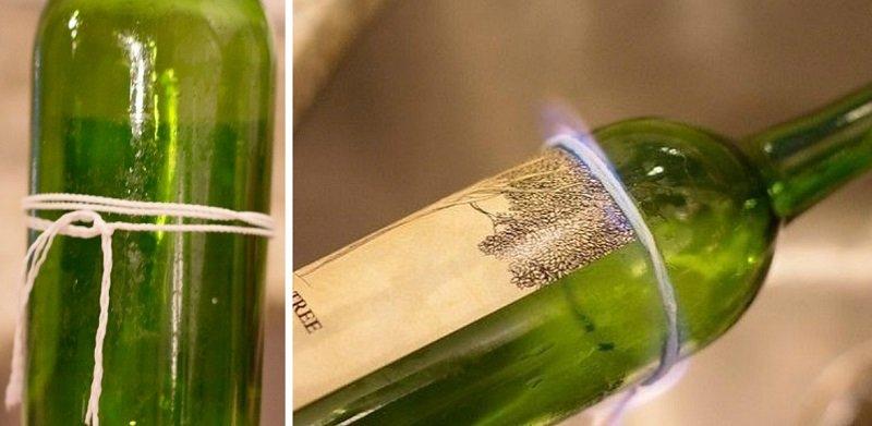 разрезать стекянную бутылку