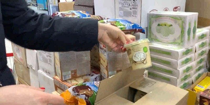 продукты в ящиках