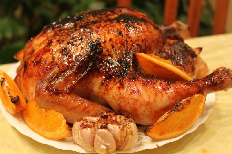 Курица начиненная апельсинами