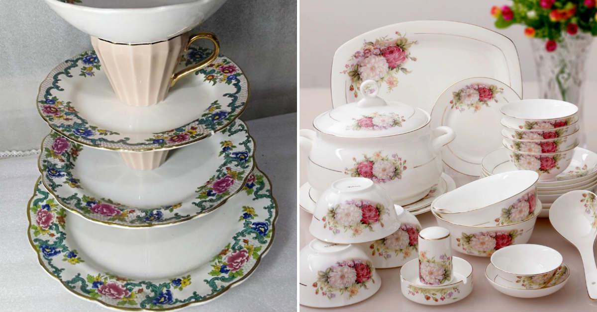 посуда с цветами