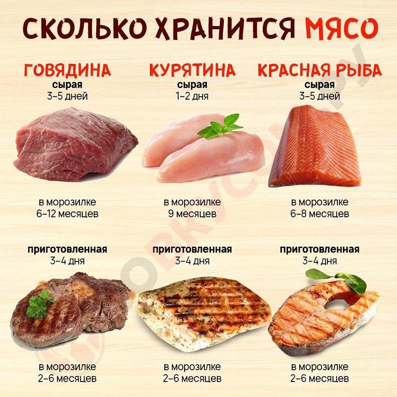 сколько хранится мясо инфографика