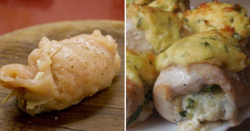 Куриные рулетики с сыром в духовке