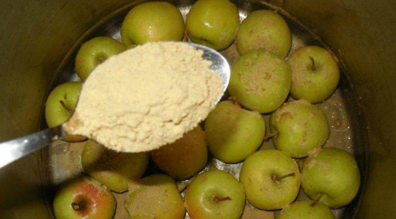 моченые яблоки с горчицей и мятой