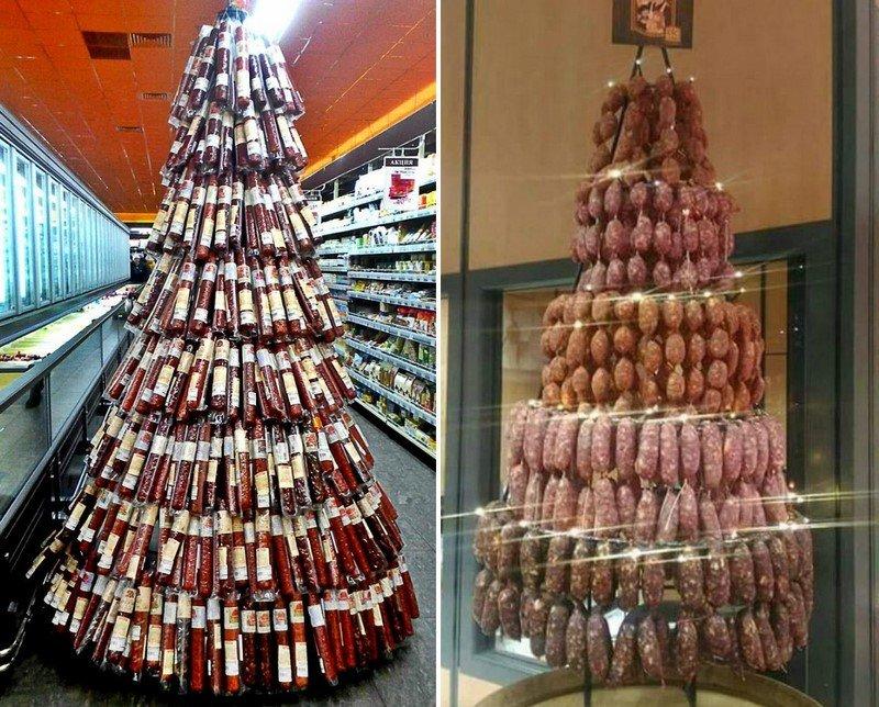 елки из колбас