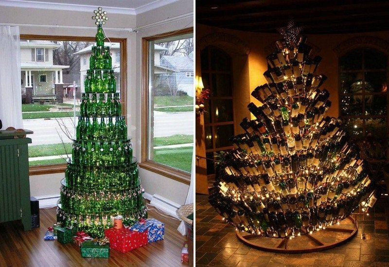 елки из винных бутылок