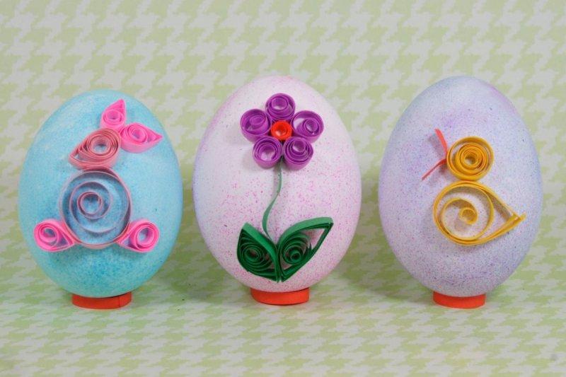как украсить яйца бумагой