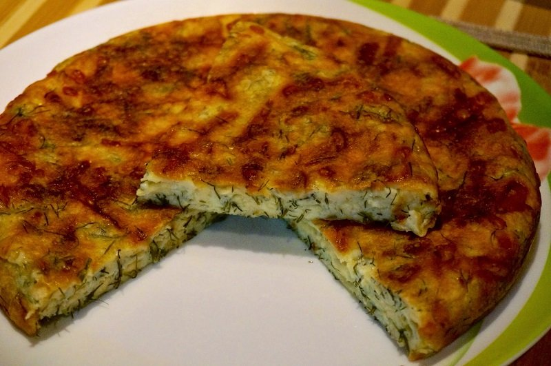 сырный пирог на сковороде снимок