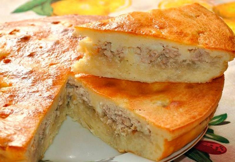 пирог с курицей на сковороде фото