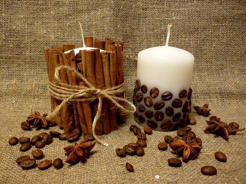 декор свечей из кофе