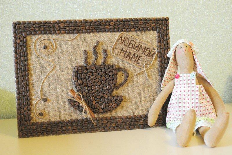 картина из кофейный зерен