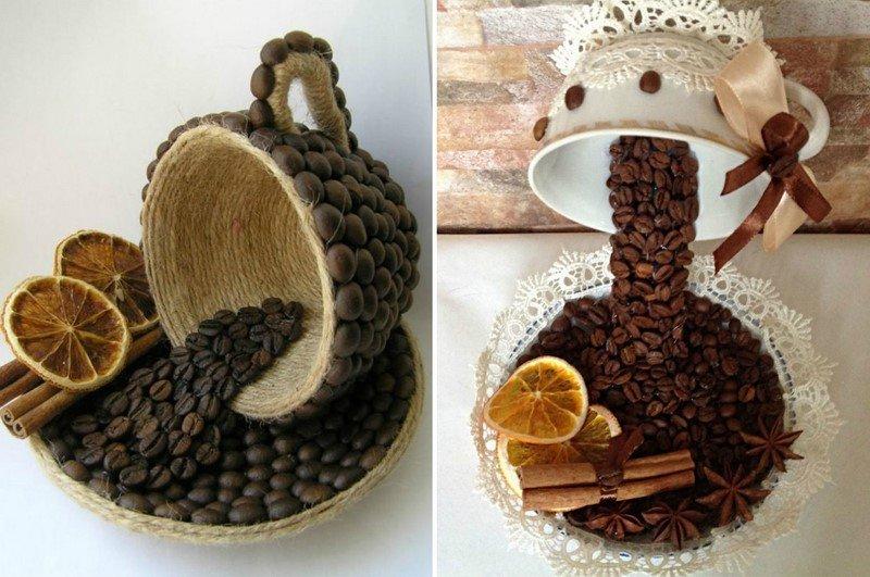 чашка кофе из зерен