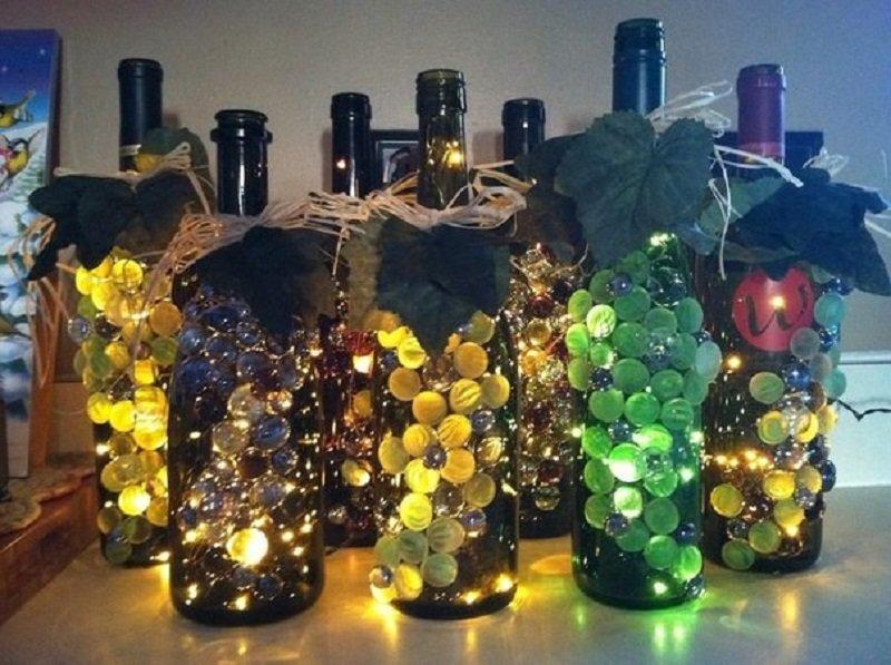 Декорирование стеклянных бутылок фото 32