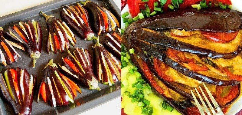 domowe półprodukty z warzyw, nadziewane bakłażany