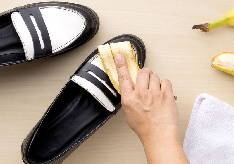 банановая кожура для обуви