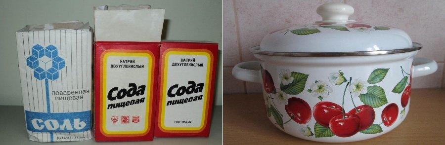 чистка эмалированной посуды