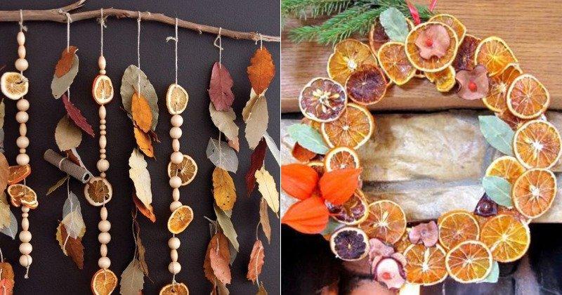 Праздничный декор, композиции с сухими листьями