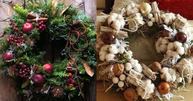 Праздничный декор, композиции с яблоками и орехами