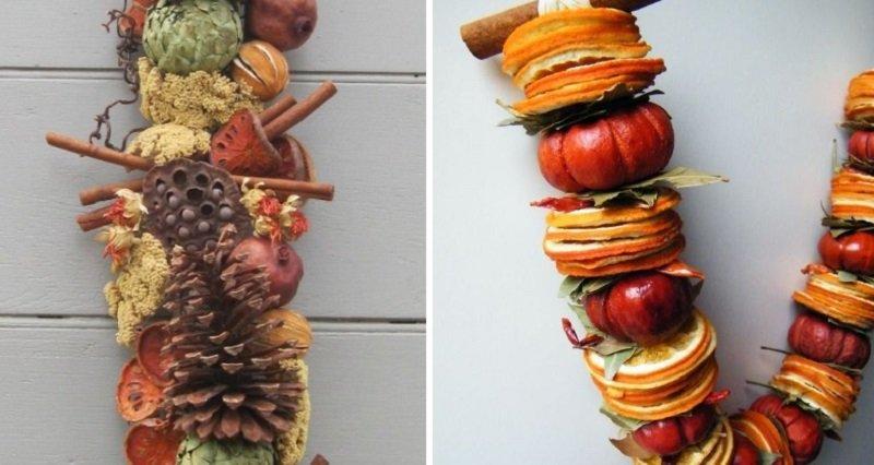 Праздничный декор, использование засушенных продуктов