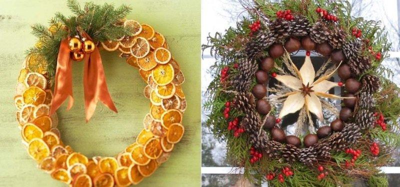 Праздничный декор, композиции с засушенными продуктами