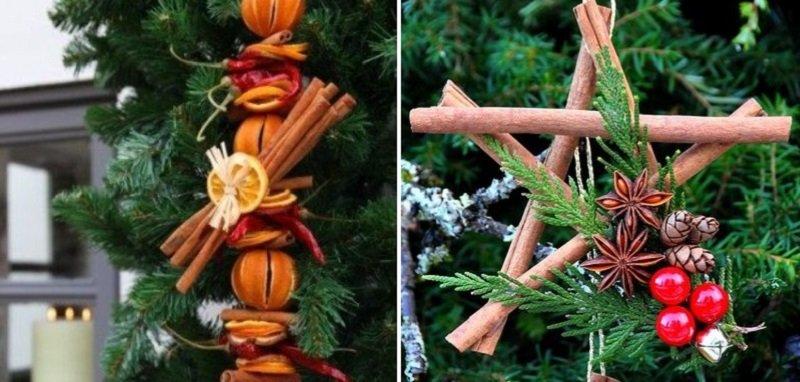 Праздничный декор, композиции с палочками корицы