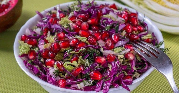 салат с капустой и гранатом фото