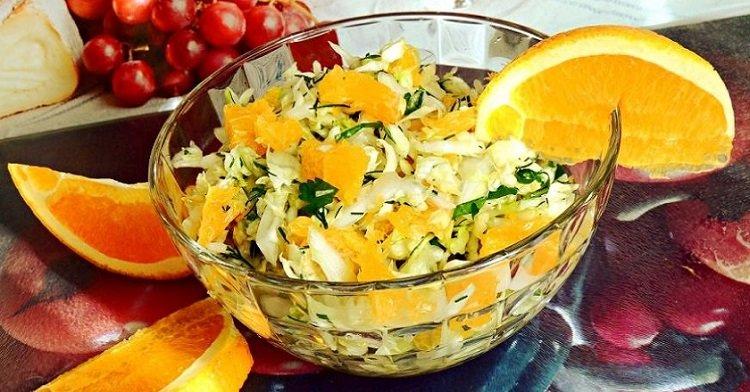 салат с капустой и апельсинами изображение